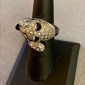 BN Sterling Silver Swarovski & Black Enamel Ring